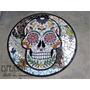 Mesa De Hierro En Mosaico Con Calavera Mexicana