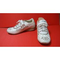 Zapatillas Taco Chino 37 Cuero Vacuno Blanco Calado Plateado