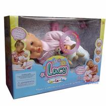 Lucy Muñeca Bebé Parpadea Mueve Boca Duerme Con Osito Lalelu