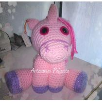 Unicornio Hermoso! Muñeco Artesanal Tejido Al Crochet.
