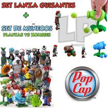 Plantas Vs Zombies Set De Muñecos + Planta Lanzador De Bolas