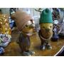 2 Muñecos De Madera, Gorros En Tela. Miden 15 Cm X 5 Cm