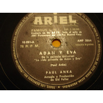 Paul Anka Disco Pasta 78 Rock Lp Simple Adán Y Eva