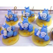 10 Souvenirs Nacimiento Hipopótamos Con Chupete Y Mamadera