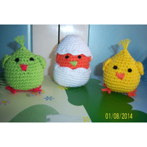 Souvenirs Nacimiento Pollitos Tejidos Al Crochet + Cascaron