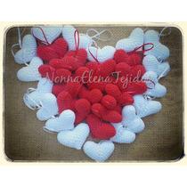 Corazones Mini 7x5 Tejidos Crochet Souvenir Colgantes