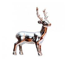 Reno De Porcelana Adorno Navidad Plateado