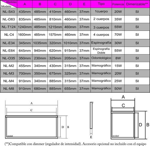 Negatoscopio Led Nl-d83 (2 Cuerpos)