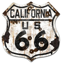 Cartel California 66 Ruta 66 Antiguo Chapa Route 27x25 C-002