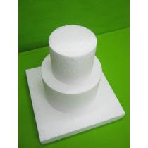 Maqueta Torta Telgopor 20cm Alto X 15cm Ancho(total 3 Bases)