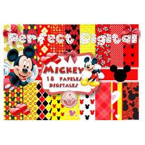 18 Papeles Digitales Mickey Mouse Fondos Diseños Cumpleaños