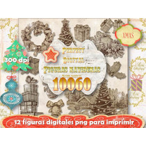 Kit Imprimible 12 Png Navidad Cotillòn Mesa Navideña Figuras