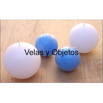 Vela Esfera 8cm Artesanales Souvenir Centro De Mesa Bautismo