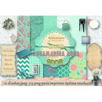 Kit Imprimible 19 Imagen Aguamarina Verde Agua Aquamarine