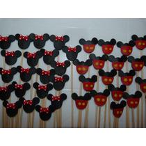 10 Apliques De Minnie O Mickey En Porcelana Fria
