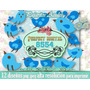 12 Diseños Clipart Pajaritos Azules Country Shabby Chic 2x1