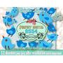 12 Diseños Clipart Pajaritos Azules Decoupage Scrapbook 2x1