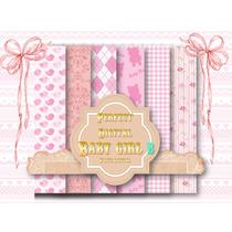6 Papel Digital Beba Nacimiento Baby Shower Niña Rosa 2x1 B