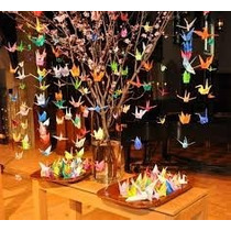 10 Grullas De Cortinas Origami 15 Adorno Souvenirs Oferta
