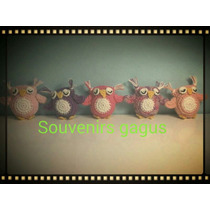 Souvenirs Búhos Llavero Tejido A Crochet