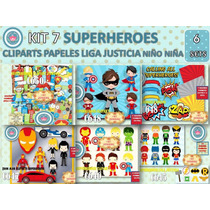 1 Kit Imprimible X 6 Sets Superheroes Batman Mujer Maravilla