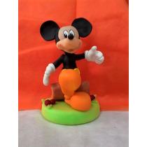 Adorno De Mickey En Porcelana Fria Con Base Tronco