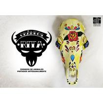 Cráneo De Vaca Pintado Decoracion Arte Quincho Campo