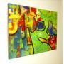 Cuadro Abstracto,acrílico Y Carbonilla Fantasía Y Realidad