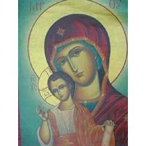 Icono Religioso ¿ La Virgen Y El Niño - Dorado A La Hoja