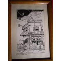 Cuadro Tinta Original De Dinwoodie - Motivo: Bar La Paz