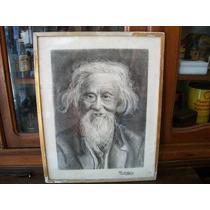 Antiguo Cuadro Lapiz Retrato Firmado A C De Cortiglia
