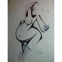 Dibujo/ Dama Embarazada/ Tinta