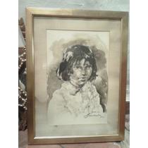 Cuadro Tinta Pintura Criollo Retrato Negrita Firma Marco