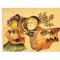 Rive Fischman. Dibujo A Color Original. Envío Gratis