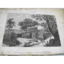 Antiguo Grabado Casa De Napoleón En Elba