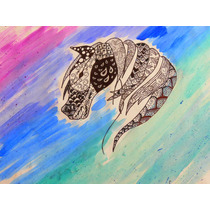 Cuadro Caballo Oleo Lápiz Zentangle Art