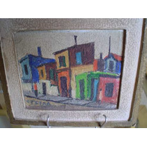 Oleo Miniatura Original De Garcia Teyra Calle De La Boca