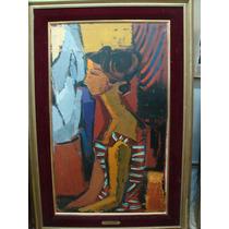 Berta Rioboo, 1960, Mujer De Perfil, Oleo Sobre Tela100 X 60