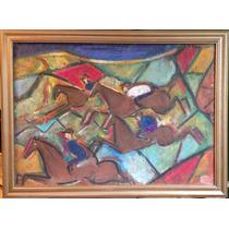 Muy Buen Oleo Pastel S/carton De Octavio Rojo Serie Caballos