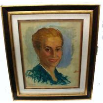 Retrato De Evita Eva Peron Oleo Firmado M Diomede Joya