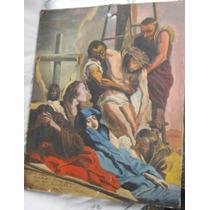 Antiguo Òleo Jesus En La Cruz Reinaldo Antunez 1933 Religión