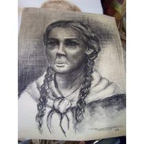 Ricardo Caregnani, Dibujo De Mujer Con Trensas