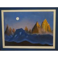 Cuadro Pintado Al Oleo Y Enmarcado - Fitz Roy Patagonia