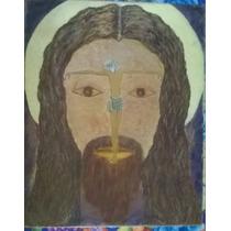 Antiguo Cuadro Oleo Paisaje Jesús