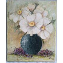Oleo Sobre Tela Bastidor Jarrón Con Flores Blancas 50 X 40