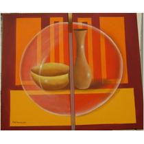 Regalos Decoración Cuadro Diptico Oleo 40x70 Arte Pintura