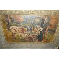 Antigua Pintura Al Oleo Sobre Tela Muy Buena¡