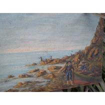 Pintura Antigua Con Muchos Personajes , Oleo S/ Tela