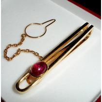 Elegante Sujetador Para Corbata Oro Con Rubí Talla Caboujon.