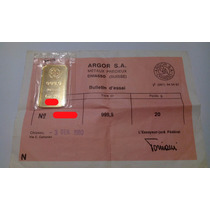 Lingote De Oro 20g 999.9 Ubs Suizo Certificado
